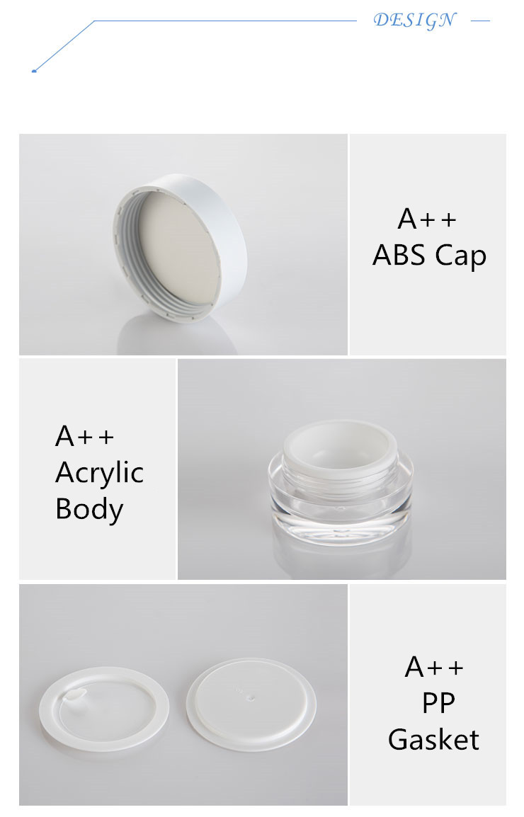 30g Plastic Acrylic Jar with Clear Surface and White Inner PP Box and White Cap and White Gasket for Cream Filling Use