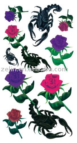 flower and scorpion body tattoo design