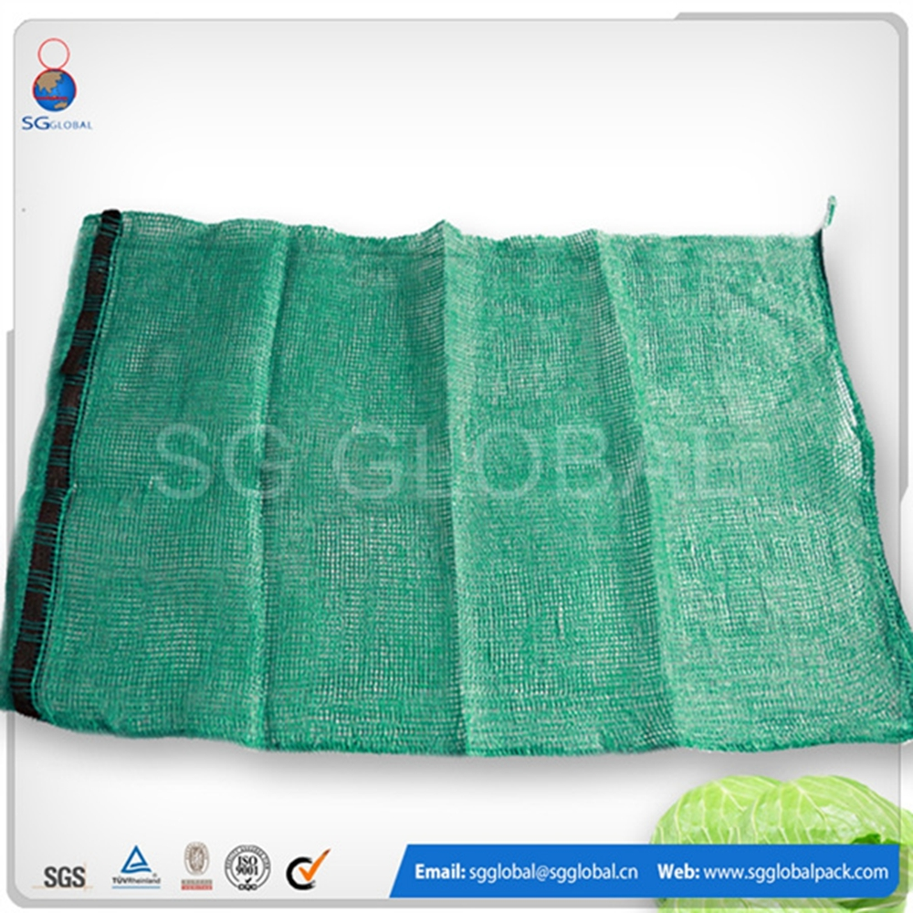 50*80cm PP tubular raschel ginger mesh net green bags for vegetables