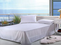 Professional Cotton Single Bed Sheet/Satin Stripe With Three Border For Hotel