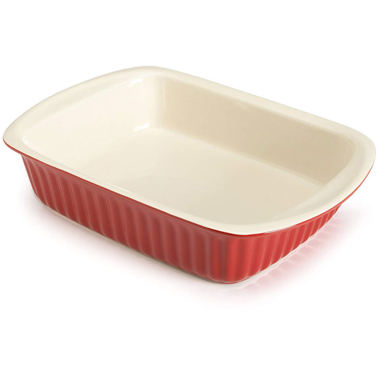 Embossed stripe red outside ivory inside custom unique stoneware bakeware with handle
