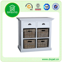Living room cabinet wooden storage cabinet with wicker baskets
