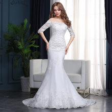 March Expo Mermaid Wedding Dresses 2018 Half Sleeve Strapless Beading Lace Alibaba Bridal Gown