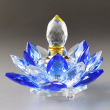 fancy high quality mini crystal perfume bottle lady use glass oil bottle lotus flower shape