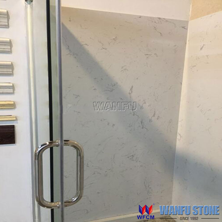 Calacatta Marble Shower Tub Surrounds For Hotel White Cultured Marble Shower Panels