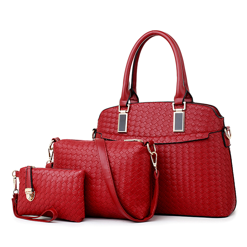 2015 Autumn PU leather bag 3pcs in one set handbag with Knitted pattern