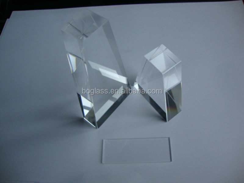 high quality JGS2 fused silica trapezoid glass light guide with thickness 17.5mm for lighting