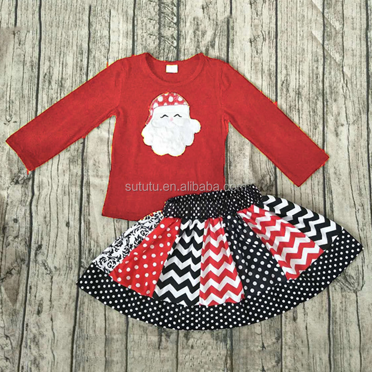 Fastival Christmas Deer Stripes Cotton Lace Wholesale Baby Girl Clothes Set Girl Clothing Children Frocks Designs 2016