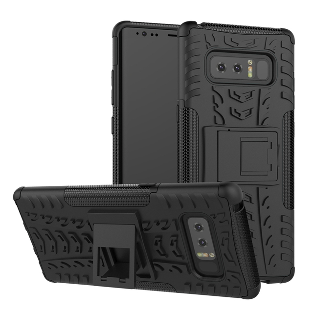 Factory wholesales PC TPU hybird shockproof kickstand case for Samsung galaxy note 8 case