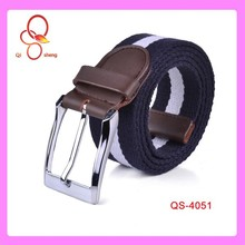 2015 Wholesale 1.5 inch Alloy Buckle Fashion Canvas Stripe Man Belt With Leather