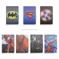 custom design Superman/Spider-Man/Batman protective flip leather case wholesale 10 inch universal tablet case with stand