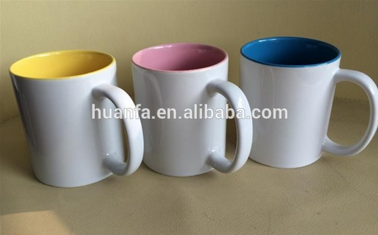 2016 Hot selling !Wholesale Custom Ceramic 11oz colorful sublimation cup Inner Ceramic Sublimation Mug