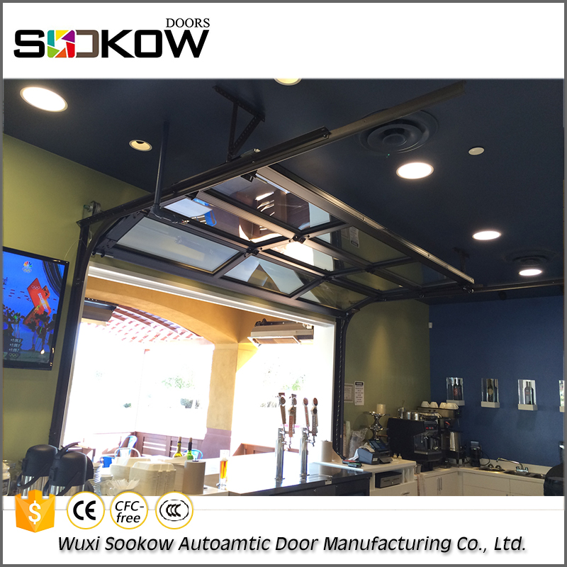 automatic insulated frosted/mirror glass garage door overhead