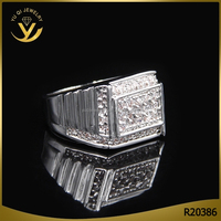 High quality finger accessory jewelry cubic ziaconia rhodium plated big silver ring