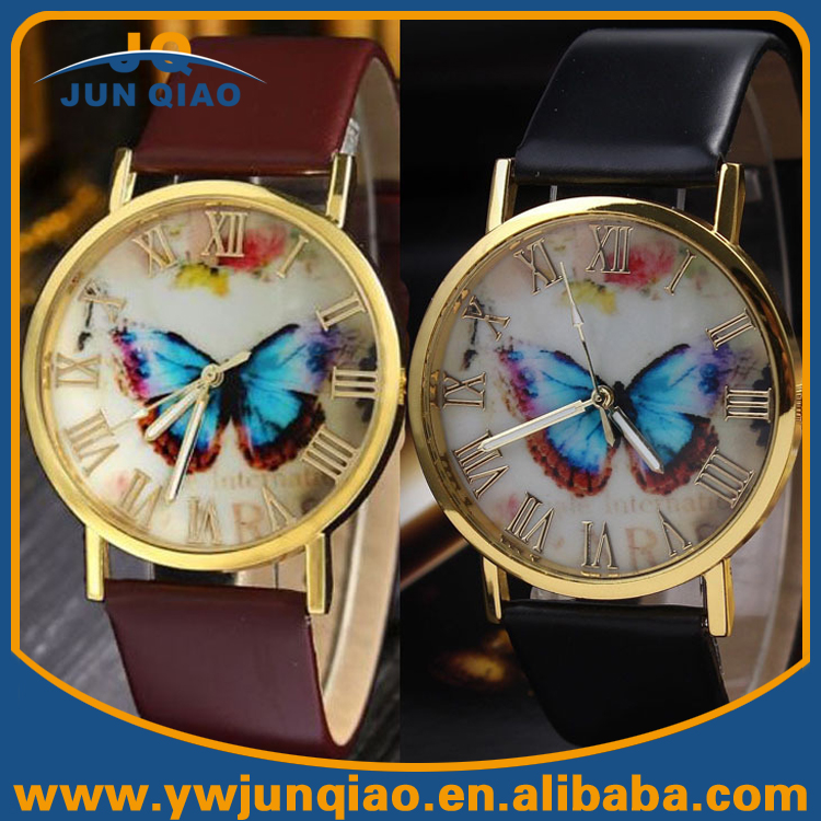 Good Selling Quartz Wrist Leather Watch Butterfly Vintage Fashion Lady Watches Ladies