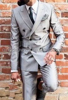 stylish silver coat pants formal peaklapel double breasted six buttons custom men suit