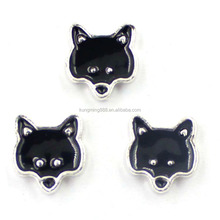 3MM-7MM Silver Wolf Head Shape Foating Charms With Enamel Wholesale