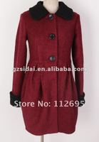 wool ladies dress coat wiith contrast collar and long sleeves