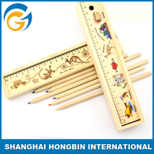 Wood Pencils Set Ruler Pencil Set With Wooden Box