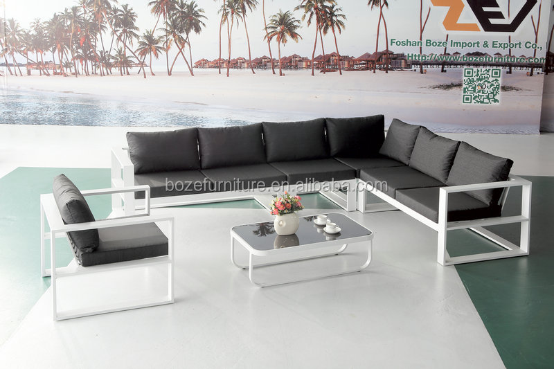Full aluminum garden corner sofa set, patio garden sofa furniture, white sofa set