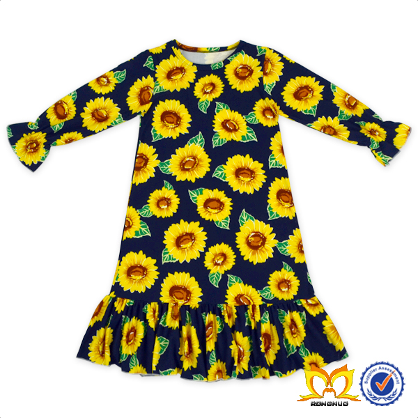 Cute Baby Girls Fox Ruffle Fall Frock Wholesale Kids Girls Lovely Casual Dress.