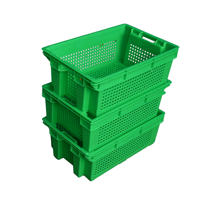 Customized stackable and nestable vented plastic crate for food