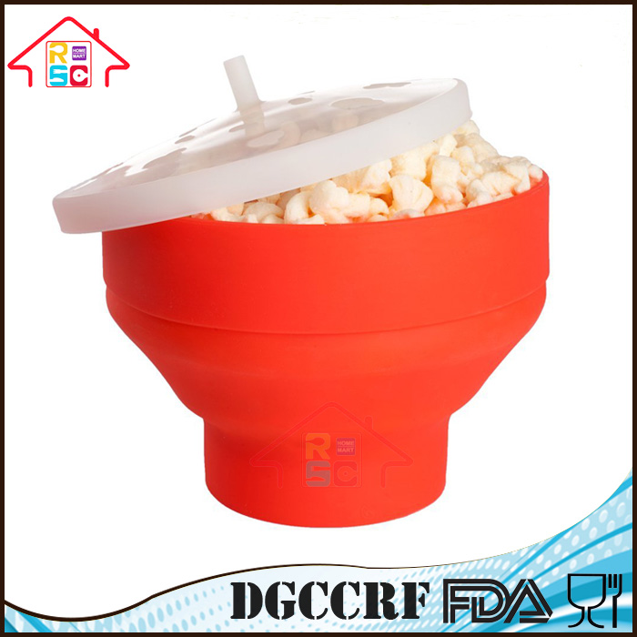Collapsible Silicone Microwave Popcorn Popper Buckets With Lid Healthy Snack Maker