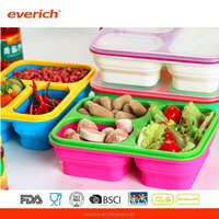 FDA&LFGB Grade 3 Compartments Folding Silicone Food Container