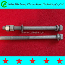 Hot dip galvanized electric power iron tower bolt/ cable bolt threaded