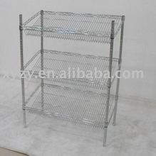 3-layer NSF slanted chrome industrial wire shelving