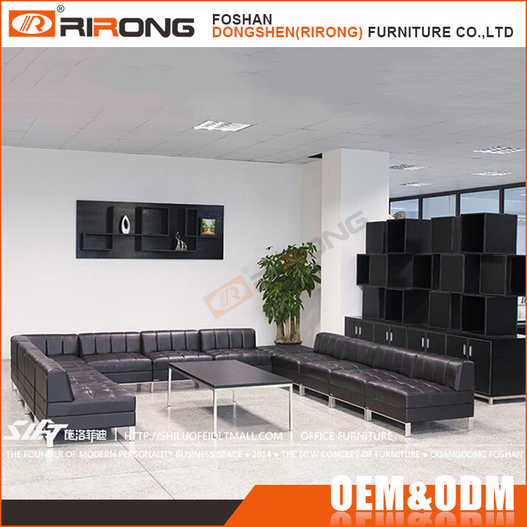 Modern reception room PU leather office sofa design , black sectional 11 seater office sofa set