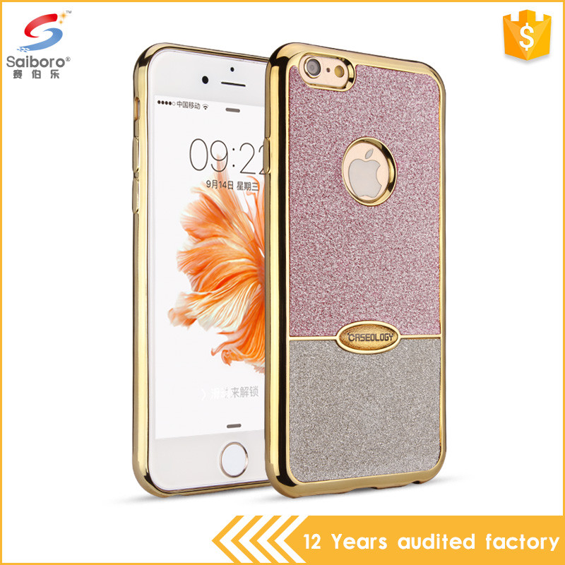 Bulk cheap double color electroplating tpu case for iphone 6s, glitter phone case for iphone