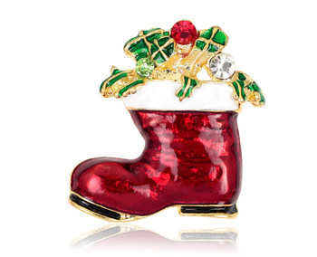 Wholesale Cute Crystal Rhinestone Christmas Sock Brooch Gift Gold Plated Enamel Sock Brooch