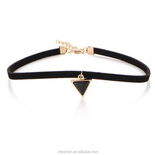 2017 new designs black choker necklace women with metal pendants
