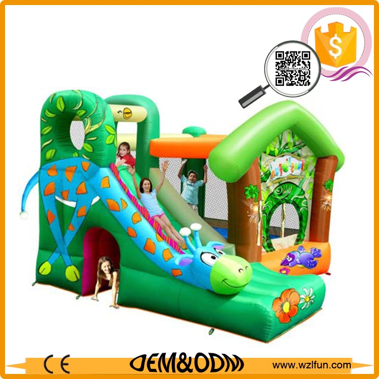 wholesale moonwalks green inflatable jumper combo china commercial inflatable toys imported