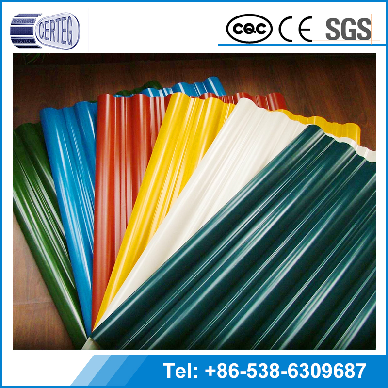 0.12-3.0mm China long span color coated corrugated roofing sheet