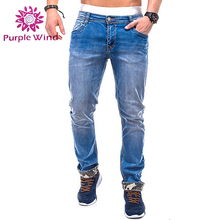 Men blue denim jeans with zipper and middle waist camouflage detail light wash slim fit pants
