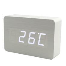 LED Wooden digital desktop day month year am pm clock