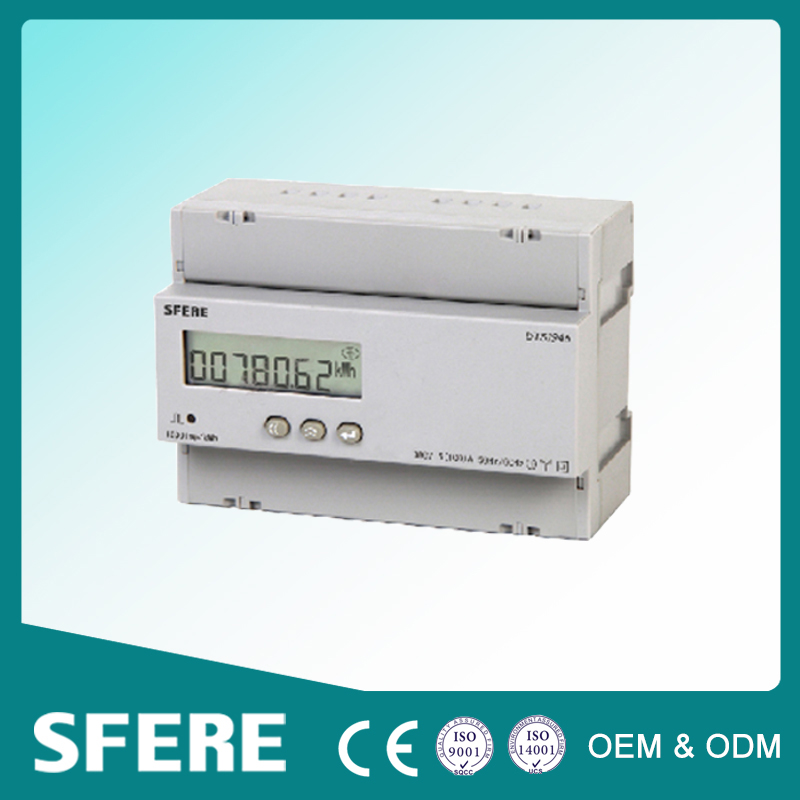 DIN-rail mounted tariff three phase energy meter