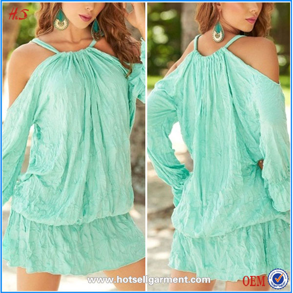 New Arrival Wholesale Fashion Confortable Draped Billow Short Beach Dress