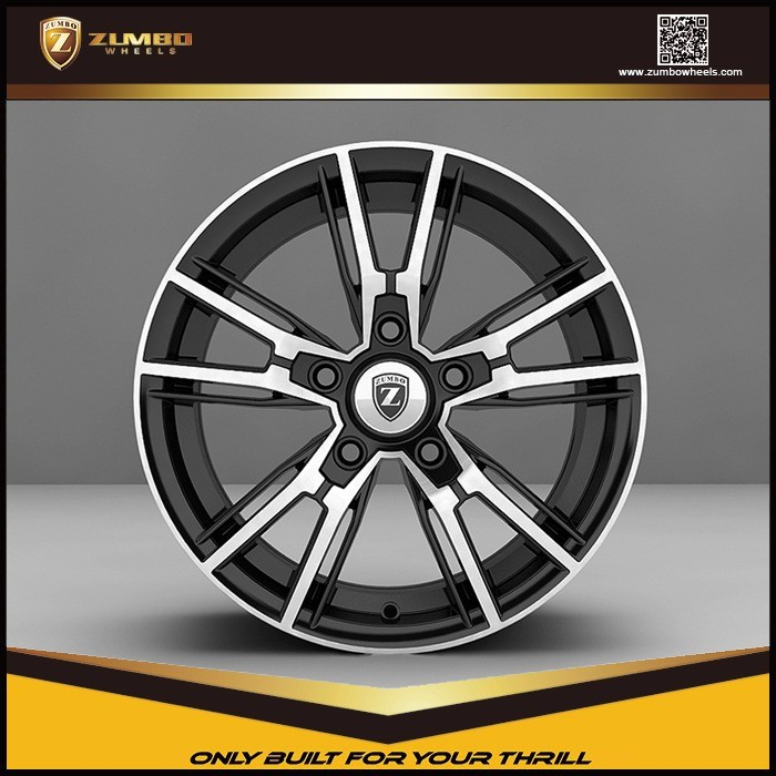 "ZUMBO R0006 Matt Black Machine Face 16X7.0/17X7.5 Inch 16"" 17"" Car Alloy Aluminum Wheel Rims"