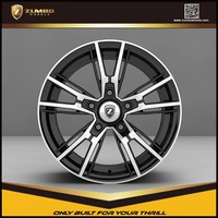 ZUMBO R0006 Matt Black Machine Face 16X7.0/17X7.5 Inch Car Alloy Aluminum Wheel Rims