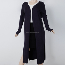 clothing manufacturers overseas OEM sleeve clothing side seam slit long knitwear cardigan