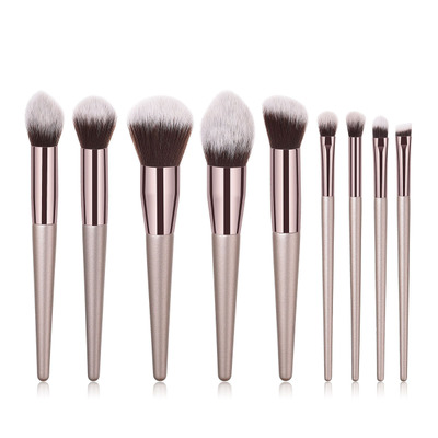10 pcs champagne Gold Makeup Brush with soft bristles custom logo brush