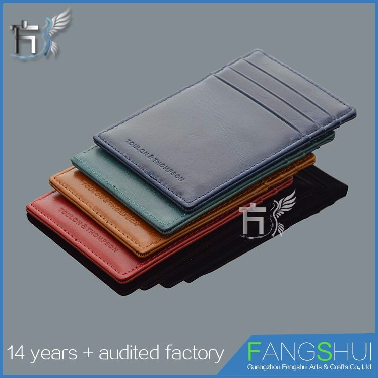 Top quality sublimation leather slim credit card holder wallet rfid
