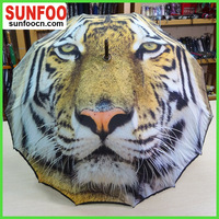 16 ribs one piece canopy tiger umbrella for custom full color printing