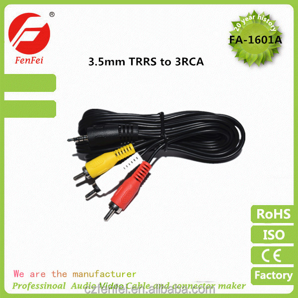 3.5mm Male AV to 3 RCA Male Adapter Audio Video Camcorder Cable 5ft