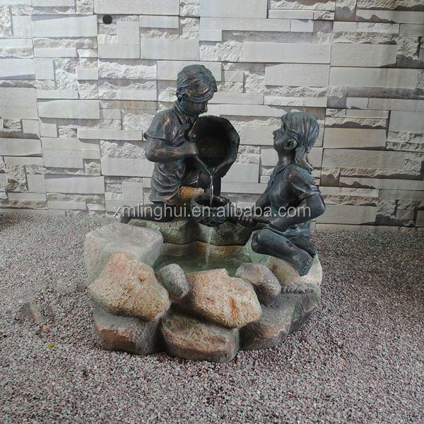 Girl And Boy Statue Modern Resin Slate Water Features For The Garden