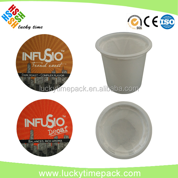 Hot sale!China factory directly supplies 51mm keurig coffee k cups with lids!China made