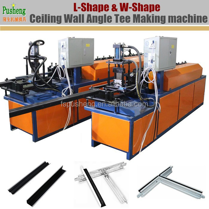 High running speed steel wall angle tee roll forming machine with hydraulic cutter for ceiling grid